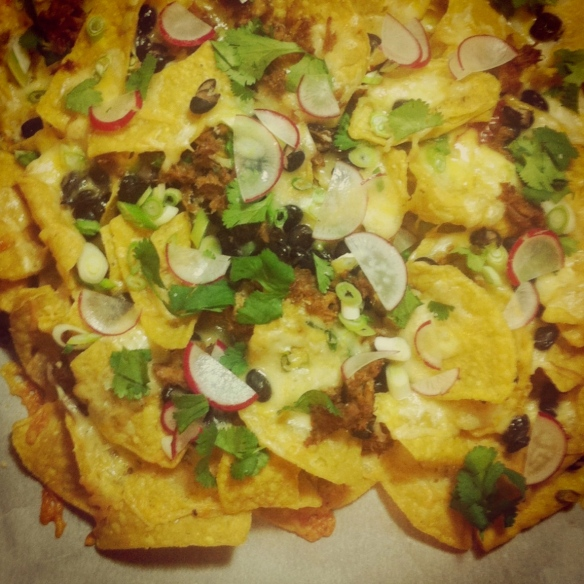 Nachos with Carnitas, Black Beans and Radishes