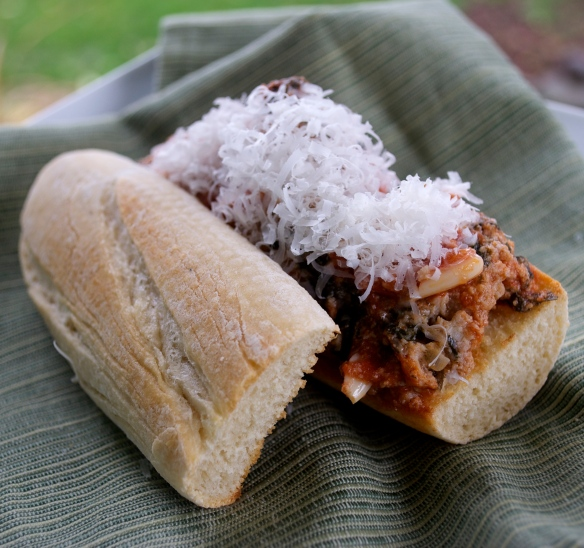 Meatball Sandwich on Homemade Bread