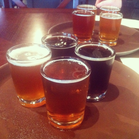 Beer samplers at Chehalem Brewing