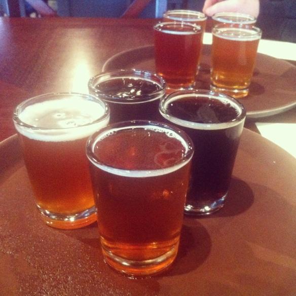 Beer samplers at Chehalem Brewing