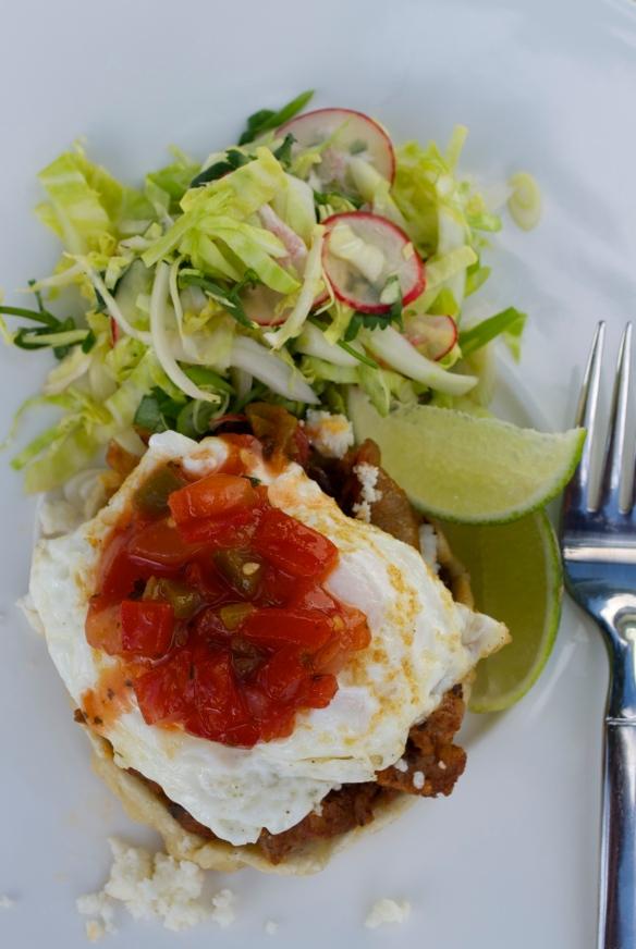 Breakfast Sopes - chorizo, fried egg and salsa