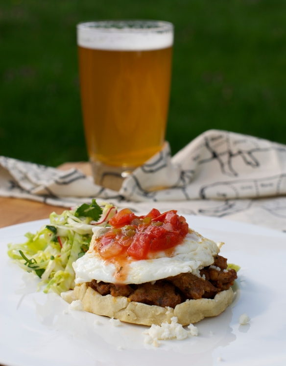 Breakfast Sopes - chorizo, fried egg and salsa