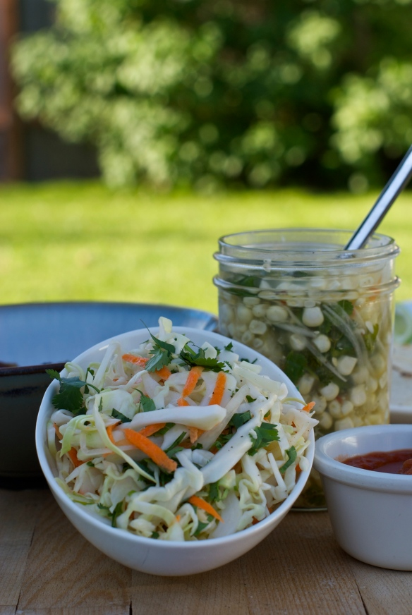 Cabbage Slaw & Pickled Corn Relish
