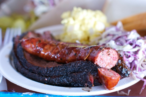 Fatty brisket, ribs and sausage at Franklin's BBQ