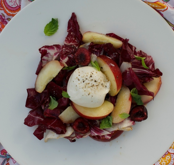 Burrata cheese, nectarines, cherries and basil