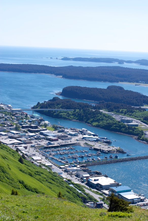 View of St. Paul Harbor, Pillar Mt., Kodiak, AK