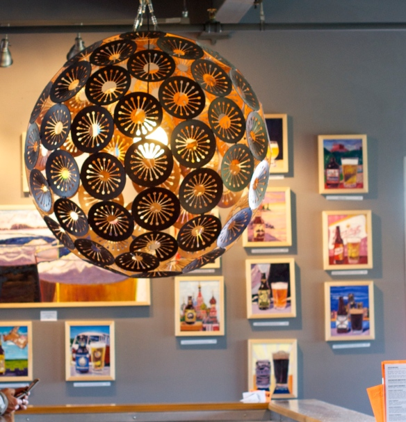 Midnight Sun tasting room -- check out the beer art on the back wall -- love!