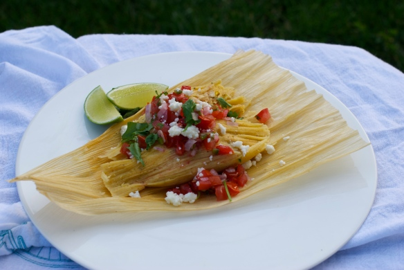 Homemade tamales with chicken, cheese & pico de gallo