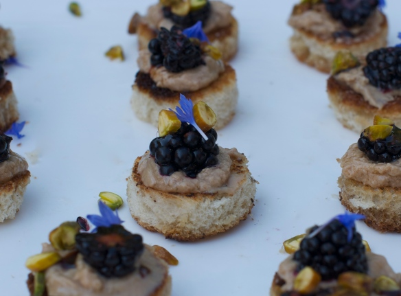 Foie gras torchon on brioche with blackberries, saba and pistachios