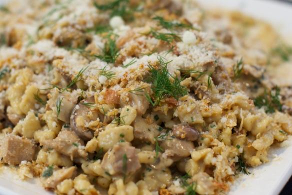 Braised Rabbit Spaetzle with herbs, mustard, creme fraiche
