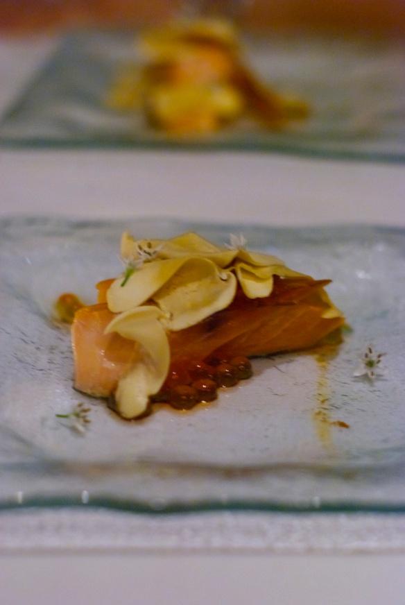 Smoked salmon belly with salmon caviar and matsutake mushrooms