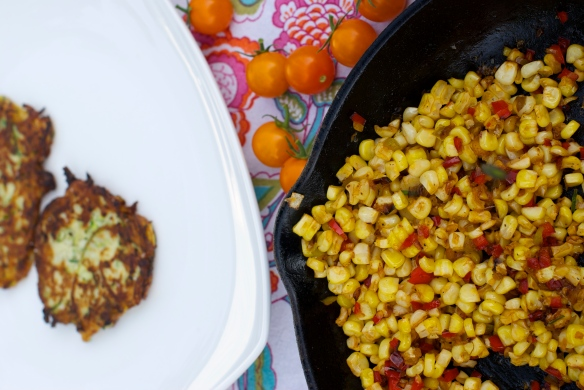 Zucchini Pancake with Roasted Corn, Sungolds