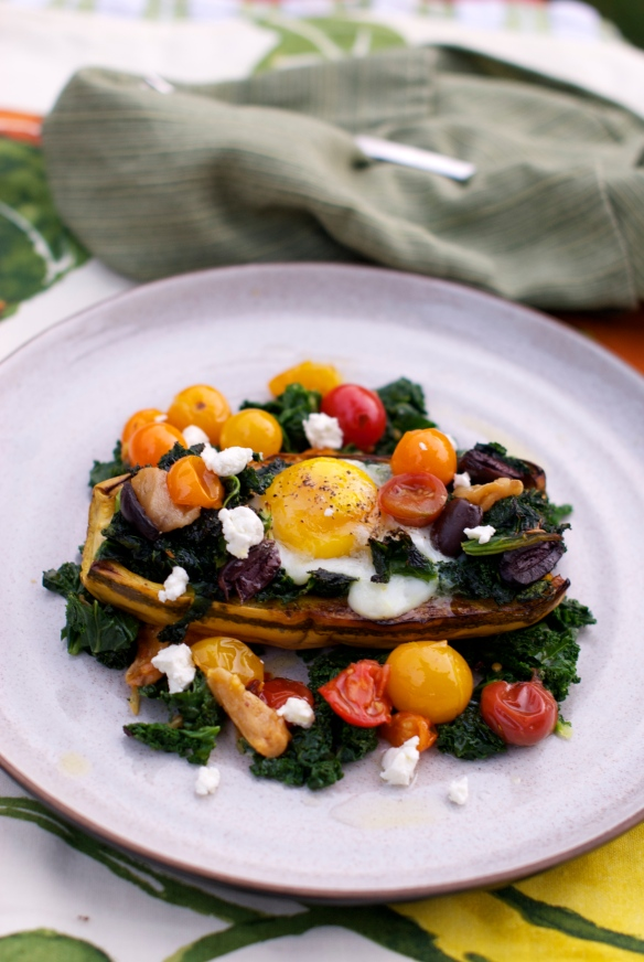 Roasted delicata squash with an egg