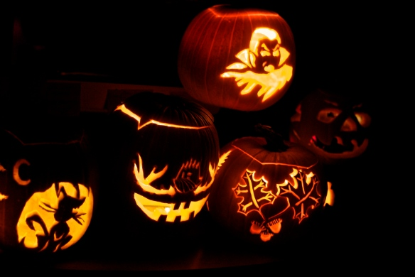 A seriously successful pumpkin carving party -- any guess on which one was mine?