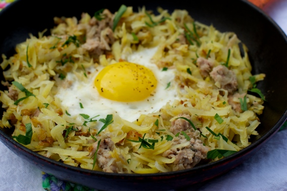 Sweet potato hashbrowns with sausage and egg