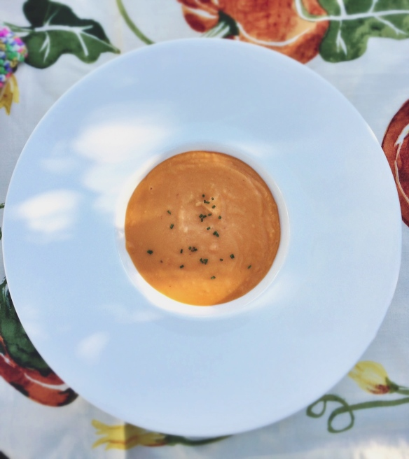 Sweet potato, ginger and coconut milk soup