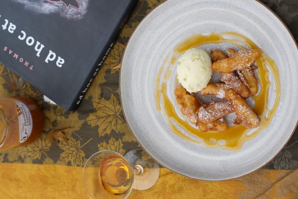 Apple Fritters with Calvados Ice Cream & Cajeta
