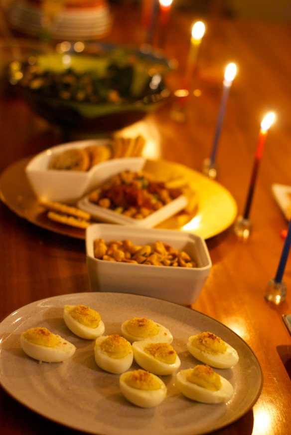 Party snacks by candlelight
