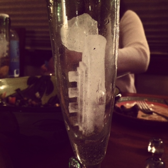 "Gin and ""Titanic"" ice cubes, complete with iceberg"