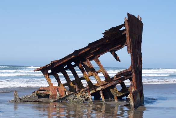The shipwreck of the Iredale at the Ft. Stevens Park. The ship ran ashore in 1906 during a storm and was unable to be salvaged.