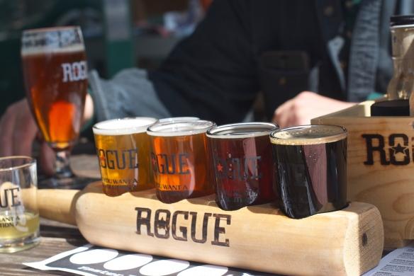 Rogue Brewery, beer flight, Astoria, OR