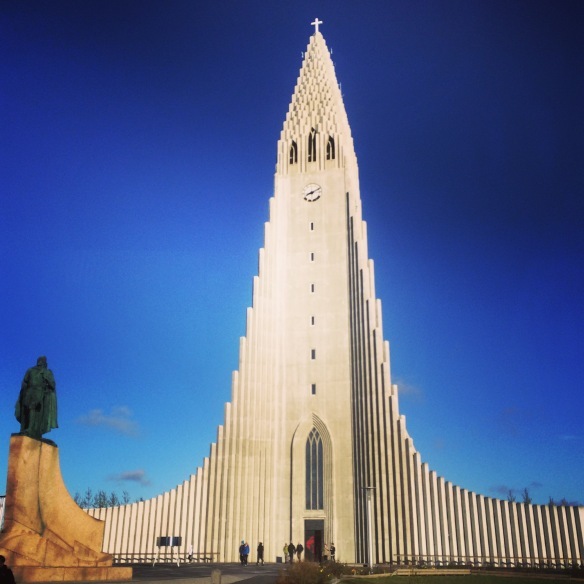 Hallgrimskirkja, a Lutheran church was designed to mimic the basalt lava flows. The view from the top of the tower is incredible,