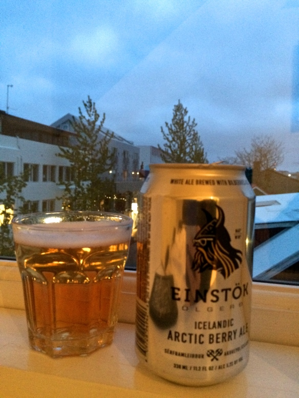 What it looks like when you're drinking an Icelandic ale in your apartment in Reykjavik in the summer...at 1 am!
