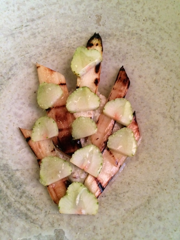 Grilled White Asparagus, Green Strawberries, Walnuts.