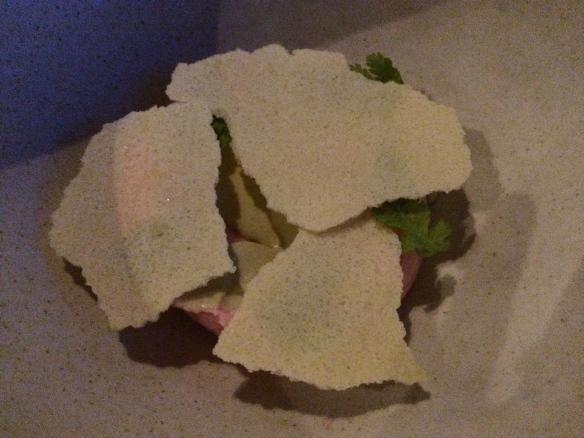 Rhubarb Sherbert, Sweet Cicely, Dried Yogurt