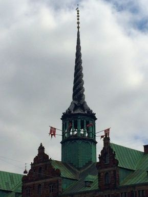 The Børsen, the old stock exchange. The top is made of four dragons whose tails creating the winding spire.