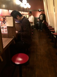 Rows of cubicles for eating your ramen in peace (unless a pesky American traveler is around taking pictures!)