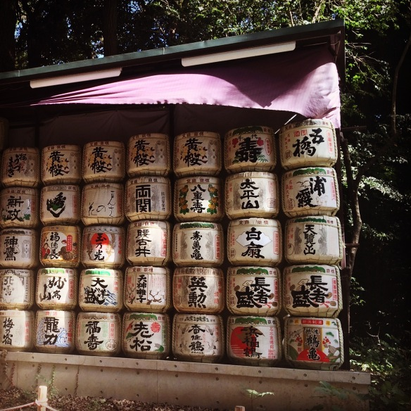 Straw-wrapped sake barrels in the Meiji Jingu Shrine, Shibuya, Tokyo.