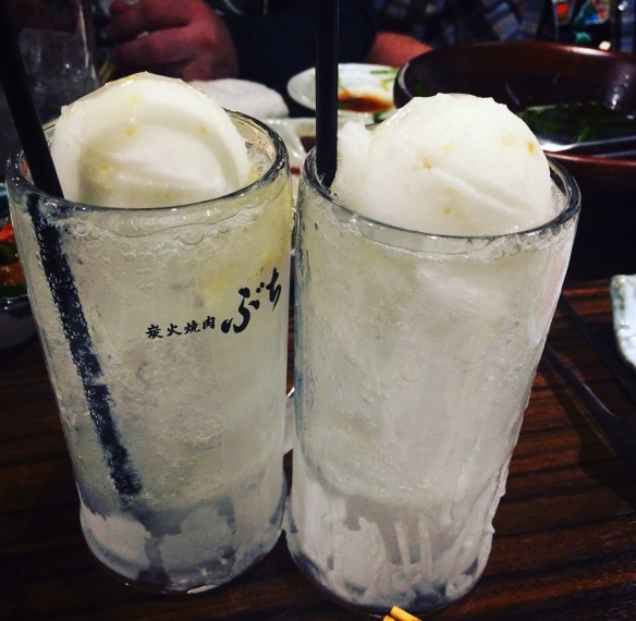 Lemon Sour made with Shochu, lemon sorbet and club soda.