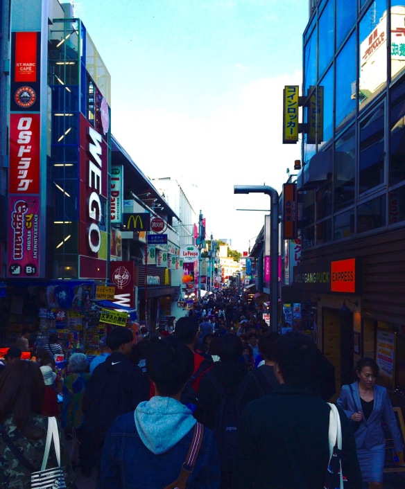 So many people! Walking to the 100 yen store (kind of the like the Dollar Store) in Harajuku.