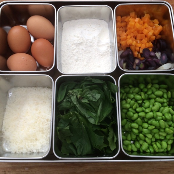 Mise en place the first day (eggs, flour, roasted squash, cheese, basil and edamame)